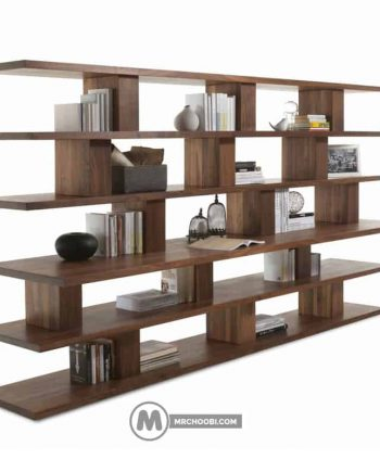دکور کتابخانه چوبی ماهانه